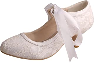 MW306 Women Pumps Closed Toe Low Heels Mary Jane Prom Lace Ribbon Tie Wedding Party Shoes for Bride