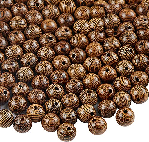 500 PCS Wooden Beads for Crafts 8mm Dark Brown Natural Macrame Round Beads Bulk Beads for Bracelets and Necklace Jewelry Making