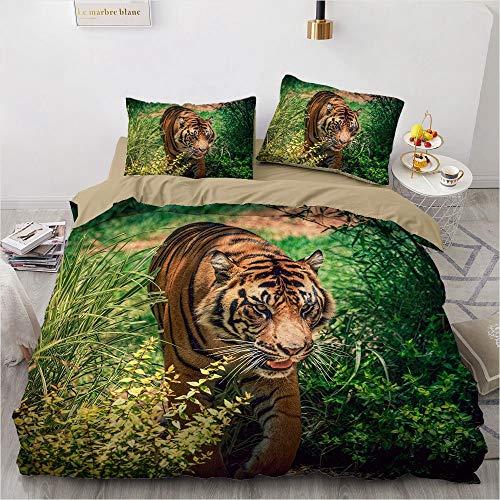 NEWAT Juego de ropa de cama con diseño de tigre en 3D, estampado de tigre, juego de cama con estampado de tigre, 2/3 piezas, funda de edredón y fundas de almohada (J,140 x 210 cm)
