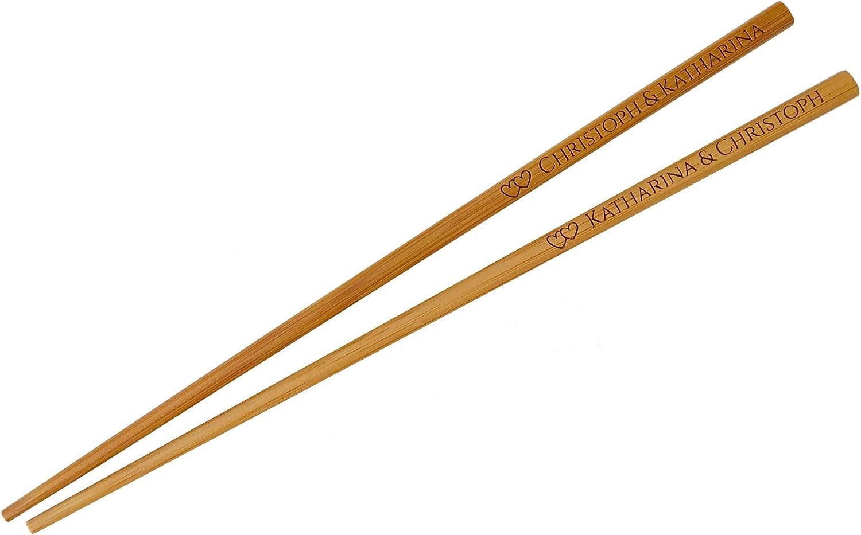 SNEG 10 Essst/äbchen aus dunklem Bambus mit pers/önlicher Gravur Dunkles Bambus, 10 Sushi-St/äbchen mit Gravur Chopsticks graviert