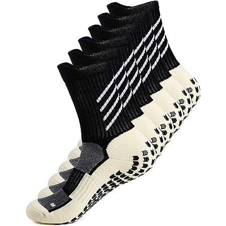 Anti-slip Sport Sock for Men Women, Anti Blister Cushion Wicking Breathable Non-slip Aheletic Socks for Football Basketball Baseball Yoga Runing Hiking Trekking, Black/Whtie