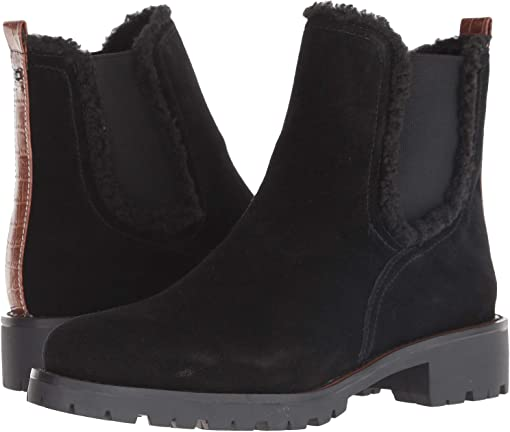 Black Suede Velour Suede Leather