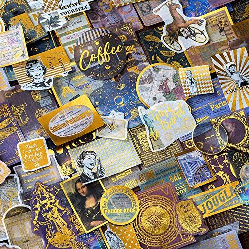 120 Pcs Autocollants de Scrapbooking, Autocollants de Souvenirs de Voyage Rétro Premium, Autocollants Rétro Renaissance / Européens, Vintage Scrapbook DIY Artisanat et Scrapbooking Décoration