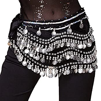 Wuchieal Women s Belly Dancing Belt Colorful Waist Chain Belly Dance Hip Scarf Belt  One Size Black -Silver coins