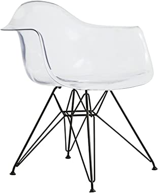 2xhome Shell Transparent Plastic Dining Arm Chair With Black Metal Legs, Clear