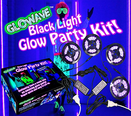 Black Lights for Glow Party! 115W Blacklight LED Strip kit. 4 UV Lights to Surround Your neon Party. Ultraviolet Lighting for Big Rooms. Easy Set up! Glow in The Dark Party Supplies. Halloween Decor.
