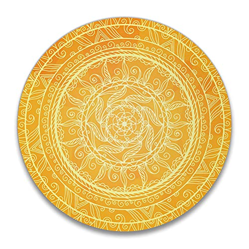 Mandala - Alfombrilla de ratón, diseño de flores cósmicas vintage amarillas de Marruecos redondo con sello circular y ratón base de goma antideslizante para ordenador portátil u oficina (20 cm)
