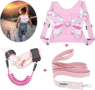 Toddlers Leash + Anti Lost Wrist Link Child Kids Safety Harness Kids Walking Wristband Assistant Strap Belt for Girl Pink(Butterfly)