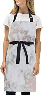 Womens Aprons Rose Gold Best Marble Kitchen Bib Aprons with Pockets Adjustable Buckle on Neck