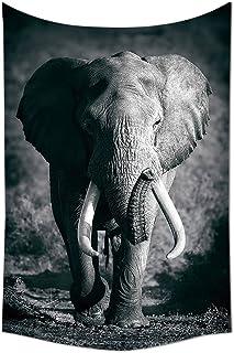 Elephants Decor Tapestry Majestic Elephant Bull Approaching Photo Exotic Wild Habitat Mammal Art Print Safari Decor Bedroo...