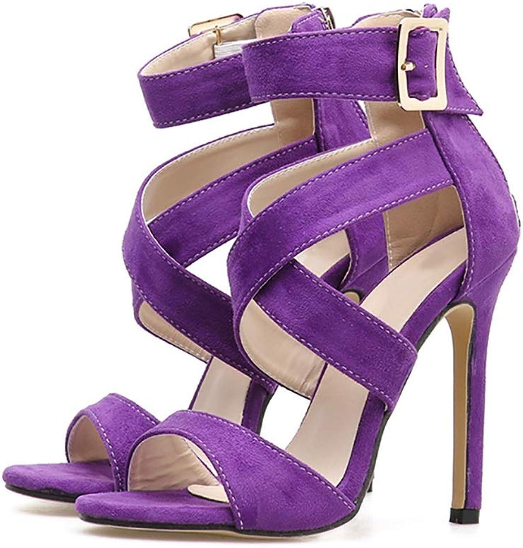 High-Heeled Sandals Sexy Suede Roman Superfine Heel Open-Toe Women's shoes, Purple Yellow 11.5cm (color   Purple, Size   5.5 US)