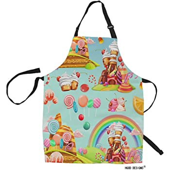 Amazon Com Hgod Designs Candy Kitchen Apron Cartoon Game Sweet Candy Land Design Kitchen Aprons For Women Men For Cooking Gardening Adjustable Home Bibs Adult Size Home Kitchen