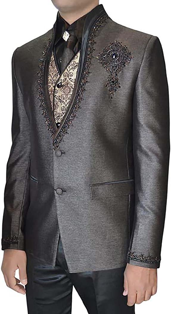 INMONARCH Mens Gray 6 pc Tuxedo Suit Hand Embroidered TX011261