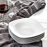 MALACASA, Series Julia, 8' Soup Plates Ivory White Porcelain Square Deep Dinner Plate Soup BoBEA-GB Snack Plate, Pack of 6 (20 * 20 * 3.8cm)