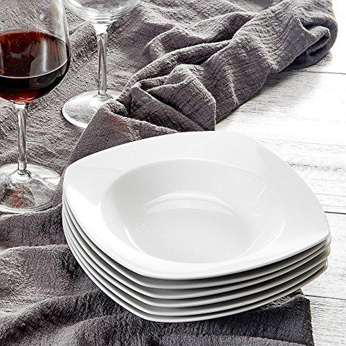 MALACASA, Série Julia, 6pcs Assiettes Creuses Porcelaine, Assiettes à Soupe Pâte Vaisselles pour 6 Personnes