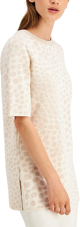 Alfani Womens Printed Crewneck Sweater, Beige, X-Large