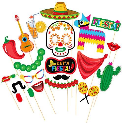 LUOEM Fiesta Photo Booth Props mexikanische Partei liefert mexikanischen Posing Requisiten festliche Cinco De Mayo Party Gefälligkeiten, Pack von 20