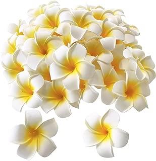 Pursuestar 100Pcs White Foam Hawaiian Frangipani Artificial Plumeria Flower Petals Cap Hair Hat Wreath Floral DIY Home Wedding Decoration 5cm