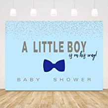 Blue Baby Shower Backdrop Boy Babyshower Backgrounds 7x5ft Glitter Bow Tie Baby Shower Back Drops for Boys Babyshower Party Favors 1st Birthday Party Decorations Newborn Photo Booth Props