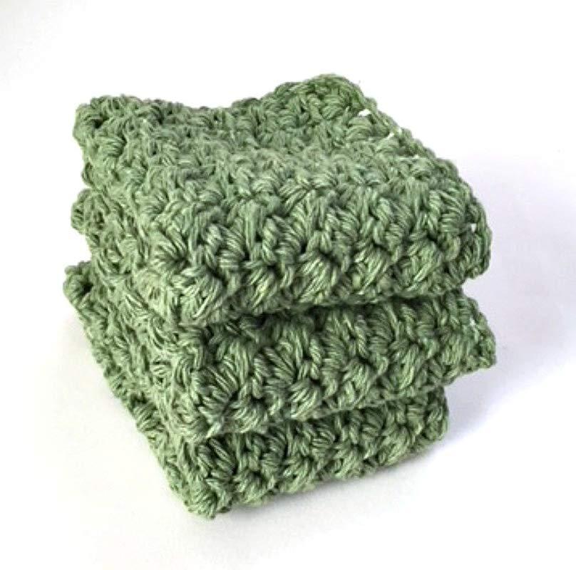 Handmade Dish Cloths Sage Green Cotton Dishcloths Set Of 3 Crochet Washcloths