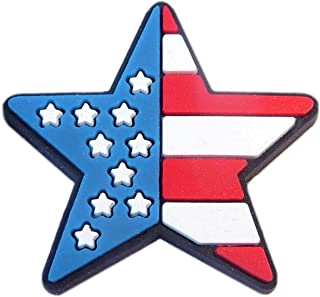 Patriotic Star US Flag Rubber Charm for Wristbands and Shoes