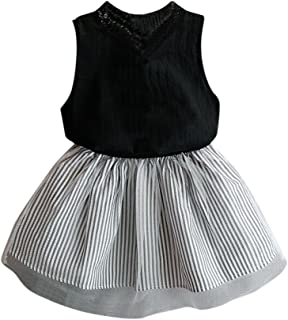 Baby Girl Clothing Sleeveless Blouse T-Shirt+Stripe Short Skirt Set Outfits