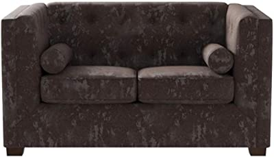 Coaster Home Furnishings Alexis Chesterfield Stationary Loveseat with Track Arms Charcoal