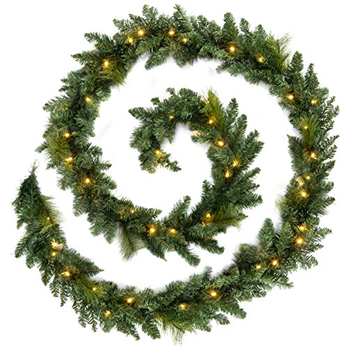 WeRChristmas Pre-Lit Long Garland Illuminated with 52 Warm LED Lights, Green, 12 feet