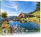 Schönes Haus in den Alpen Format: 120x80 auf Leinwand, XXL