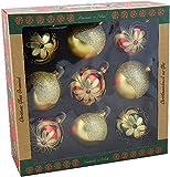 Vitbis 0505202A0053 Set de Cinco Bolas de Navidad de Vidrio, corado y Cuatro Bolas Brillantes de 100 mm (3,93 ') en Colores Navideños Tradicionales