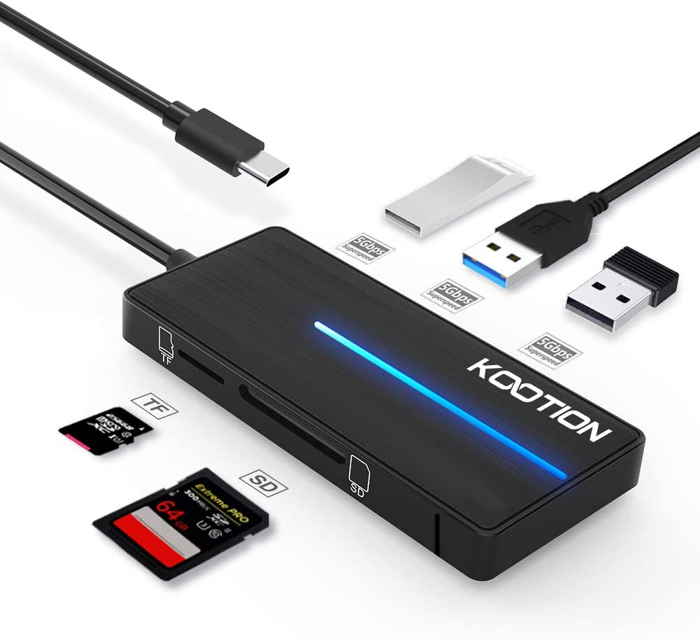 KOOTION 5-in-1 USB-C Hub with SD Card Reader USB C to USB 3.0 Hub, Ultra-Slim Type-C Hub USB 3.0 Adapter for SD Card/Micro SD Card with LED Light, 3 x USB 3.0 Port, Card Reader