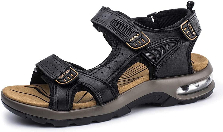 GHFJDO Men Hiking Trekking Sandals,Outdoor Summer Closed Toe Hook Loop Mesh & PU Upper Adjustable Heel Strap Sandals Walking Beach shoes