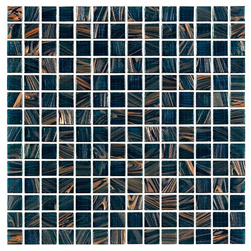 Hometile Mosaic Peacock Blue Glass Mosaic Tile for Kitchen Backsplashes/Bathroom Tile, Swimming Pool Tile(10 sq. ft, 10 Pieces per case)