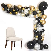 Luvier DIY Black/Gold Organic Balloon Garland Arch Kit/102pcs Latex/Confetti/Metallic Chrome/Marble Balloons with Balloon Tools/Perfect Backdrop for Birthday Party/Baby Shower/Festivals (Black-Gold)