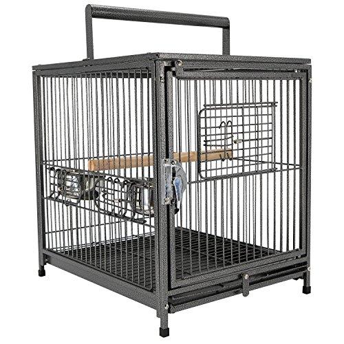 Jaula para Pájaro Metálica Espaciosa para Loros Interior o Exterior con 4 Puertas 2 Comederos Inoxidables Desmontable Fácil de Transportar 46x36x56cm