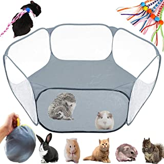 GABraden Small Animals Tent,Reptiles Cage,Breathable Transparent Pet Playpen Pop Open Outdoor/Indoor Exercise Fence,Portable Yard Fence for Guinea Pig,Rabbits, Hamster,Chinchillas and Hedgehogs