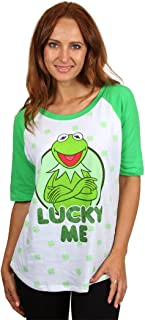 Muppets Kermit The Frog Lady's Henley Style T-Shirt (X-Large 15-17) White/Green