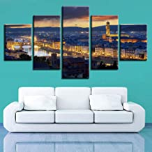 ZDLYY home decor poster 5 Piece Canvas Painting Home Decor Picture 5 Pieces Aesthetics Florence City Cathedral Bell Tower Painting Night Scene Canvas Poster Wall Art,40x60 40x80 40x100(cm)