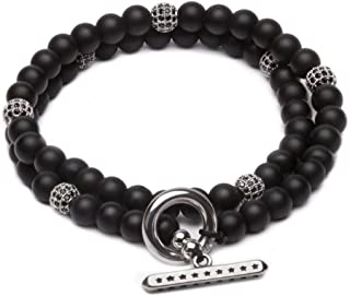 ZENGER Jewelry Savannah Double Wrap Beaded Bracelet - 6mm Matte Black Onyx, Stack