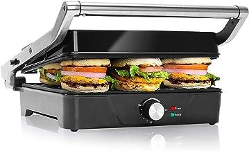 Aigostar Panini Grill, Sandwichmaker, Tosti-ijzer, Contactgrill, 2000 Watt- XXL RVS met Anti-aanbaklaag, 180 Graden te Ope...