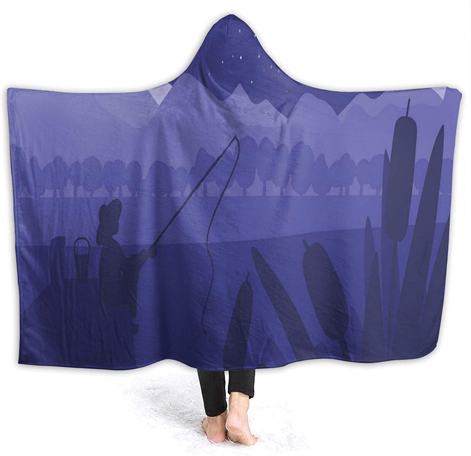 Hooded Blanket Finally popular brand Anti-Pilling Flannel Fashionable Fisherman Fishing Rod O with