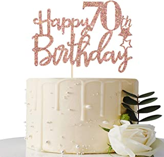 Rose Gold Glitter Happy 70th Birthday Cake Topper - 70 Cake Topper - 70th Birthday Party Supplies - 70th Birthday Party De...