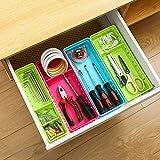 VANORIG Office Drawer Organizers Set of 4 Plastic Drawers Storage Adjustable Dividers Storage Box Tidy Cutlery Tray for Kitchen Bathroom Makeup Desk