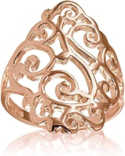 Sterling Silver Filigree Celtic Floral Swirl Ring