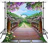 PHMOJEN Colorful Flowers Blossom Photography Backdrop Wooden Bridge Floral Garden Background Vinyl 5x7ft Photo Shooting Props HXPH010