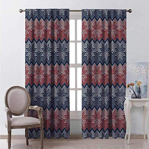 Thermal Curtains, Eyelet Curtains Thermal Insulated Blackout Curtains 2 Piece Top Ring Curtains 100% Polyester Fabric(Eyelet 4cm) Traditional knitted pattern with embroidered floral ornaments
