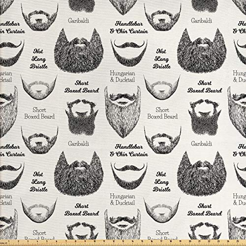 Ambesonne Human Anatomy Fabric by The Yard, Various Beards and Mustaches Type Hand Drawn Inspired Illustration, Decorative Fabric for Upholstery and Home Accents, 1 Yard, White Grey