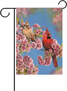 Wamika Cardinal Birds on Cherry Blossom Trees Spring Garden Flag 12 x 18 Double Sided Flags Hummingbird Flowers Welcome Spring Summer Yard Outdoor House Flag Banner Home Decorations