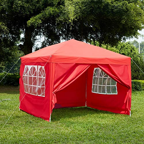 Garden Vida Pop Up Gazebo with Side Panels 3x3m Marquee Zip Up Party Tent Outdoor Garden Canopy Waterproof with Wind Bars, Weight Bags & Carry Bag, Red