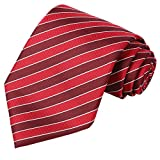 KissTies Vintage Red Tie for Men Extra Long Striped Necktie + Gift Box(63'' XL)